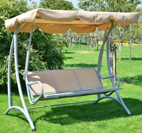 Covered Outdoor Patio Swing Bench with Frame, Sand garden swing