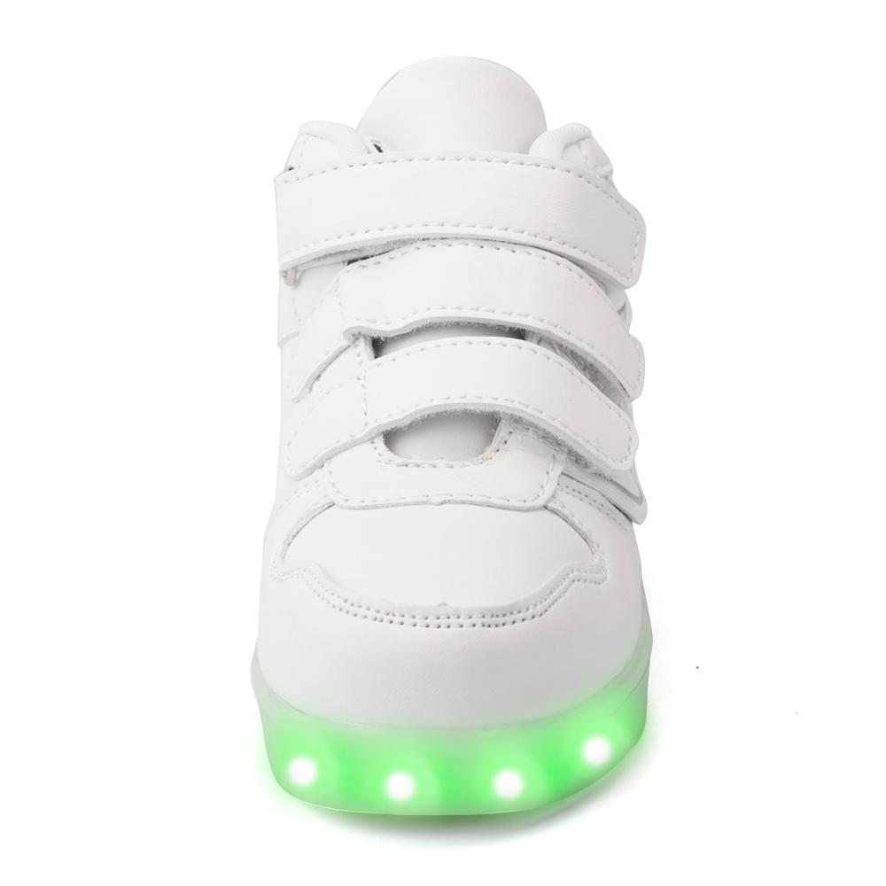 Fashion kids flight flashing shoes colors leather casual led light up shoes for children