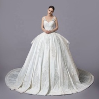 Puffy Satin Wedding Dress Lace Applique Spaghetti Ball Gown Elegant Over Skirt Bridal Dresses With Cathedral Train 2019
