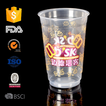 500ml PP material diaposable plastic cup with lid