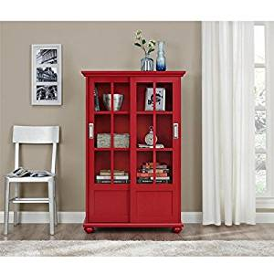 Altra Arron Lane Red Bookcase with Sliding Glass Doors | Brushed Nickel Hardware Completes This Beautiful Bookcase