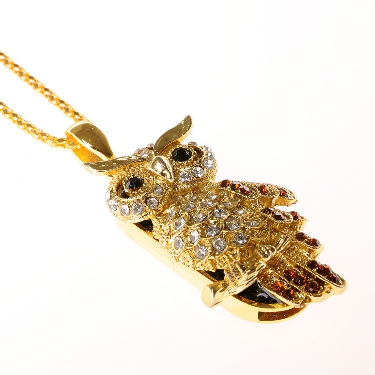 Golden owl necklace usb flash memory