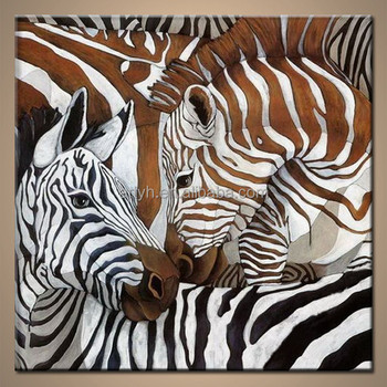 Handmade Modern Abstract Zebra Wall Art Wonderful Design Painting