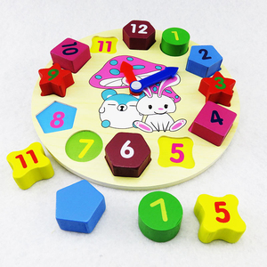Pretty kawaii colorful number cartoon rabbit clock funny puzzle toy