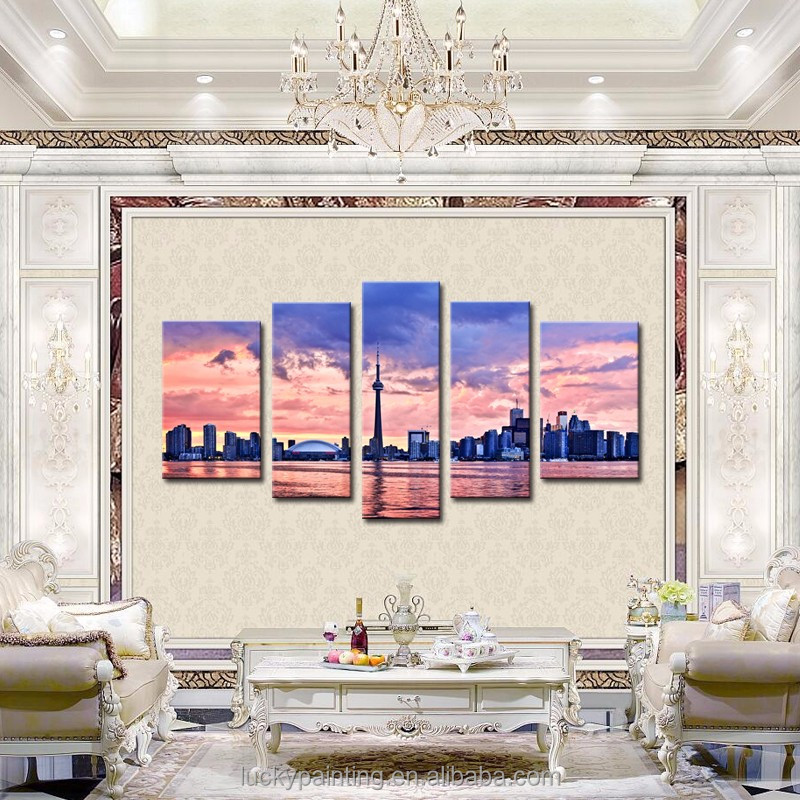 LK599 5 Panels Oil Painting Toronto Skyline City Scene Landscape Wall Art Decor On Canvas Modern Photo Print On Canvas For Livi