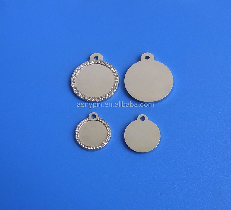 round blank pet tags crystal pet id tags