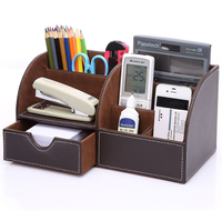 Hot Selling Multifunctional PU leather desk organizer for office accessories