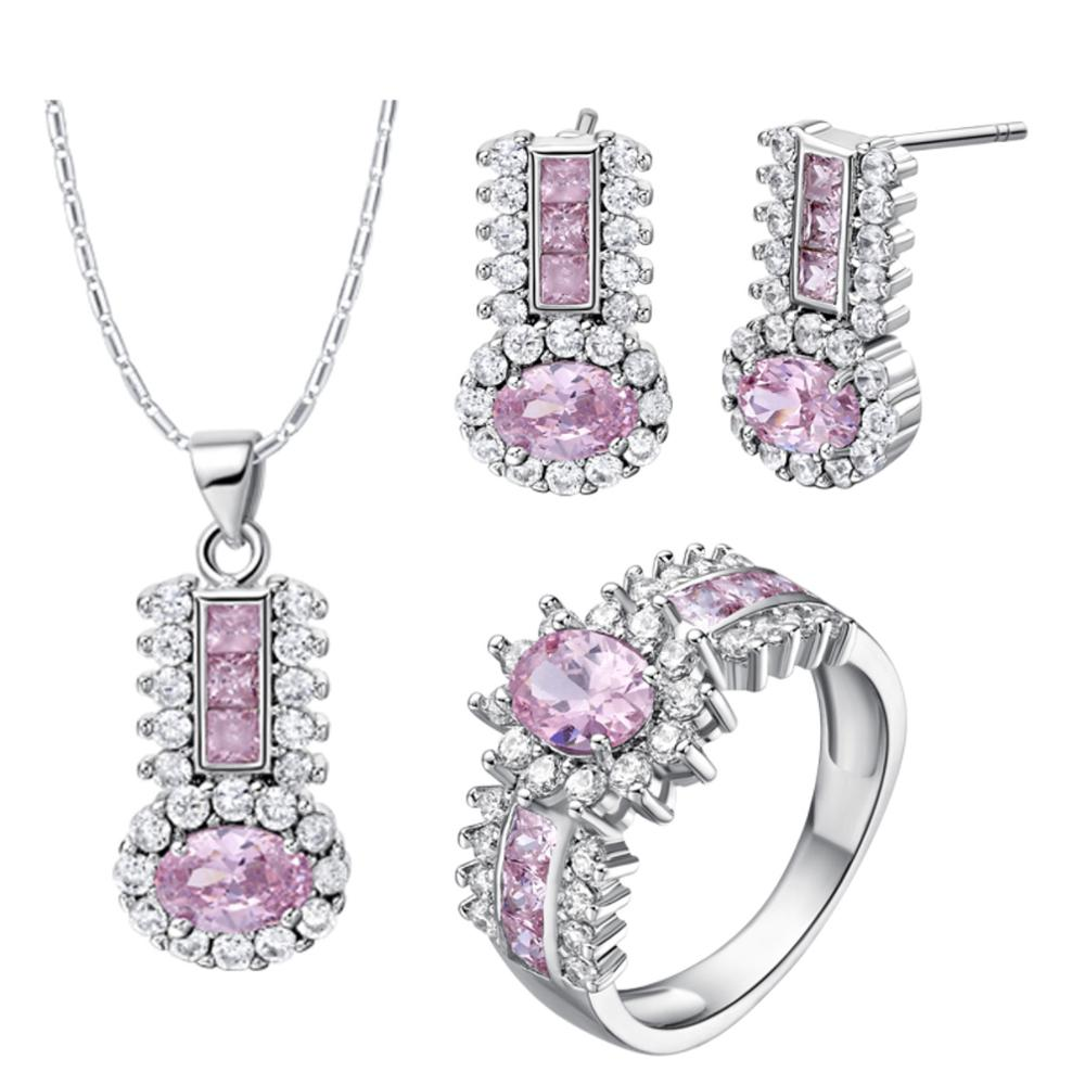 High Quality Luxury Silver Necklace and Earring for Christmas Gifts Jewelry Sets