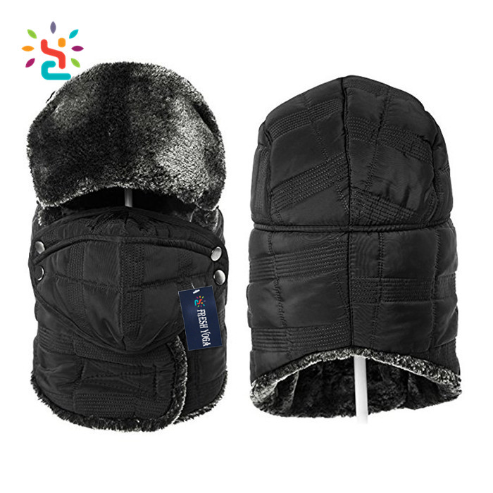 d59448e5564 Custom Russian style fur nylon fake fur windproof winter hat with earmuff  hat with mouth cover