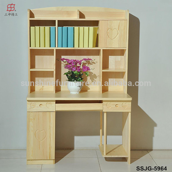 Wooden Portable Coner Bookcase With Computer Desk Children Study Table