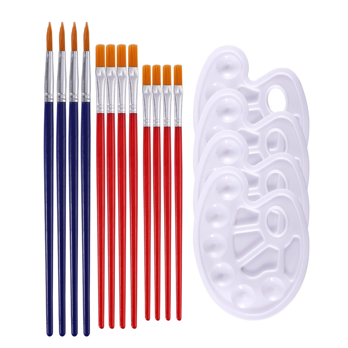 Paint Brushes,Art Paintbrush Sets,12 pcs Nylon Hair Paint Brushes for Acrylic Oil Watercolor Painting and 4 pcs Paint Trays Paint Tray Palette for Kids DIY Crafts