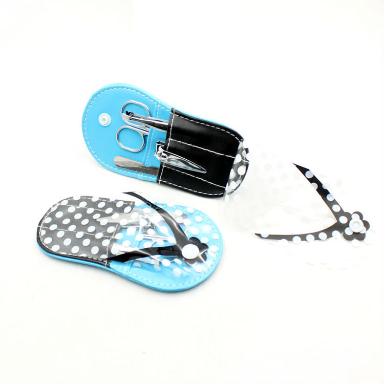 Caso PVC Barato Personalizado bonito Mini Manicure Set, Design Chinelo Spa Manicure Pedicure Kit