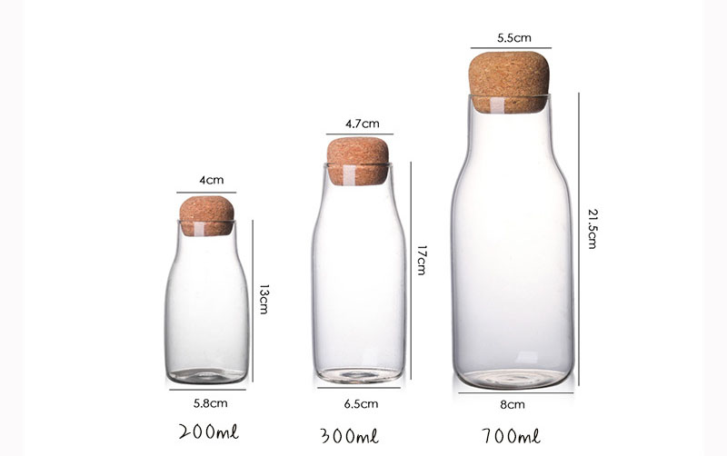 New Water Milk Bottle Borosilicate Glass Storage Bottle With Cork Private Label Glass Bottles For Water