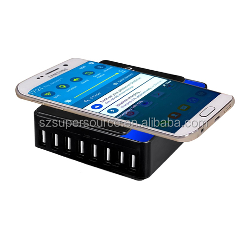 60W 8 Port 12A Wireless Power Charger USB with QI Enabled Tech for Samsung Galaxy S6 S7 S6 Edge Note 5 4 3 Tab 2 3 4
