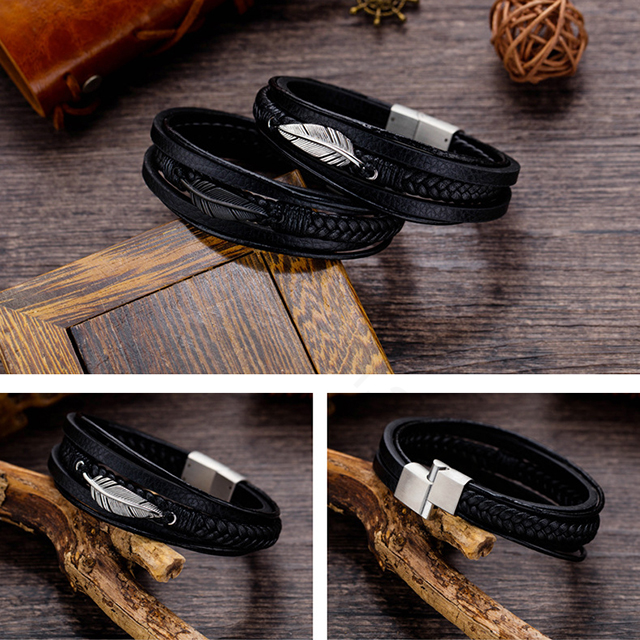 China factory 2019 new design stainless steel leather bracelet with leaf charm for men
