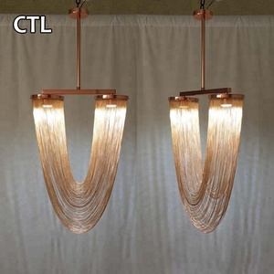Rose gold chains ceiling chandelier lighting lamps hotel dining room modern led pendant lights
