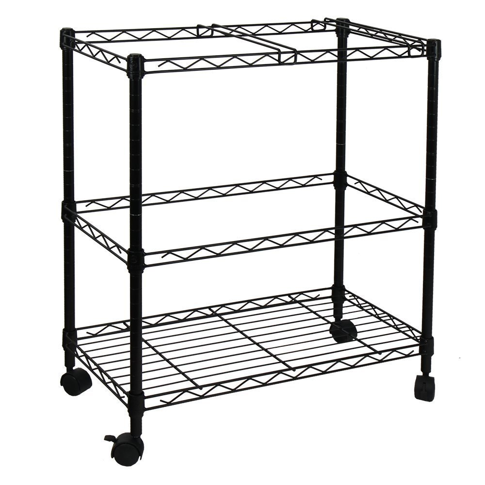 Wegi King Sturdy 2-Tier Metal Rolling File Cart Portable File Cart for Letter Size and Legal Size Folder Home Office with 4 Rolling Wheels