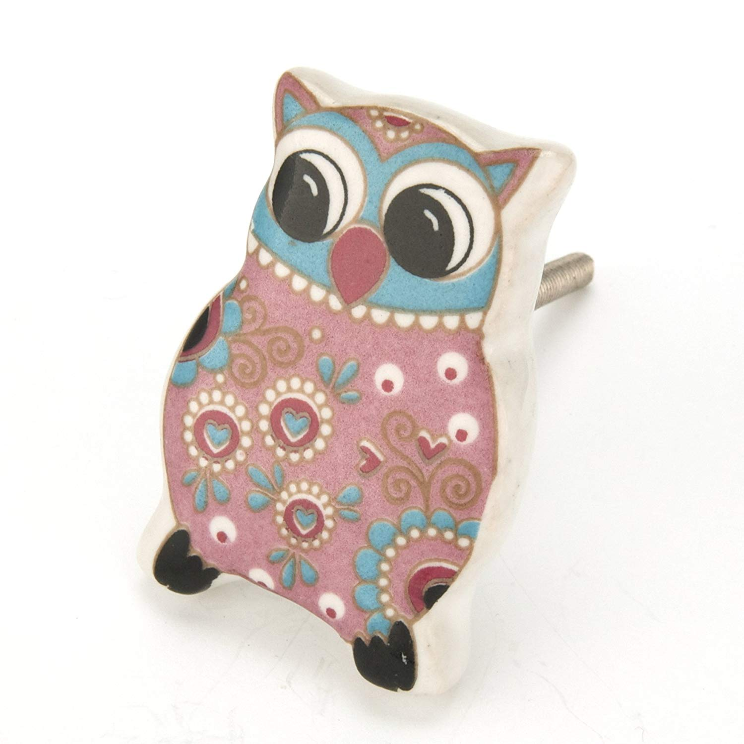 Pink Paisley Owl Ceramic Cabinet Knobs, Drawer Pulls & Handles Set/4pc ~ C94 Ceramic Owl Knobs for Children's Decor, Baby's Nursery, Cabinets, Furniture or Bathroom Vanity with Chrome Hardware.