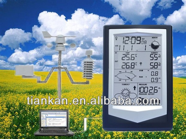 WS1040 RF 433 MHz Digital wireless weather station sensor LCD alarm clock with PC interface