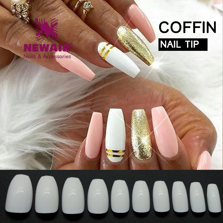 Coffin Shape Acrylic False Gel Professional Nail Tips Natural For ...