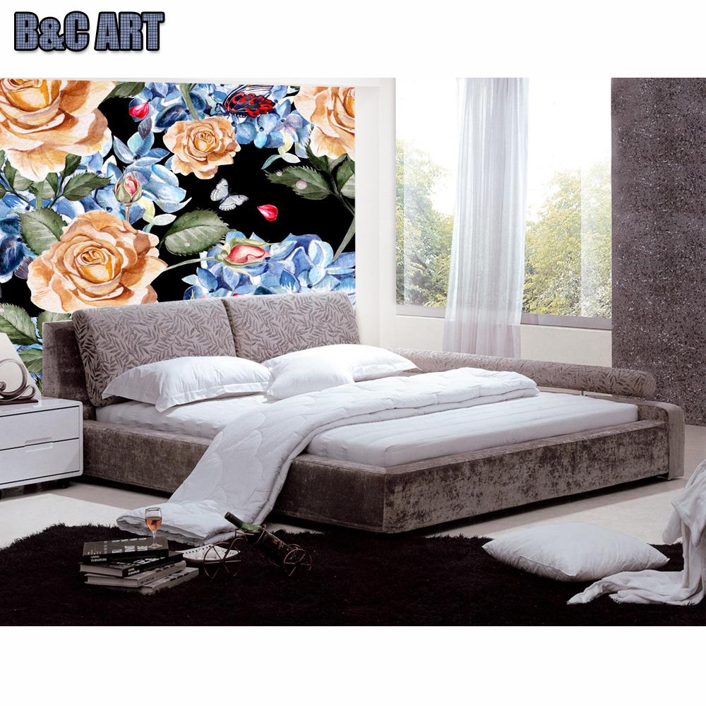 Art Decor Wallpaper Living Room Colorful Flowers Indian Wallper