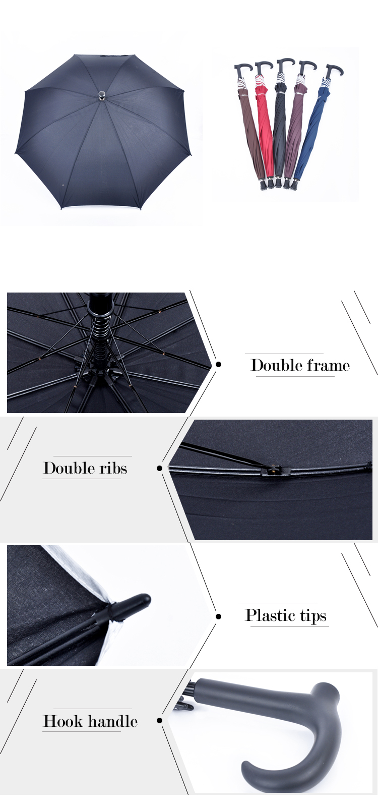 WU-04 Promotional cheap custom walking stick umbrellas with logo printing