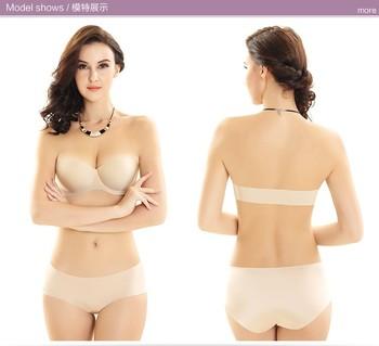 Y Invisible Bras For Women Seamless Wedding Dress Underwear Strapless Bra Push Up Half Cup