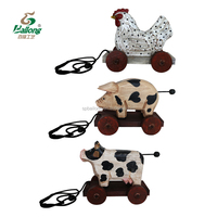 Handmade carved kids toy wood animal home farmhouse decoration