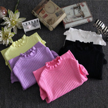 Free Shipping  autumn and winter  baby child sweater basic shirt girls sweater turtleneck all-match elastic ultra clothes kids