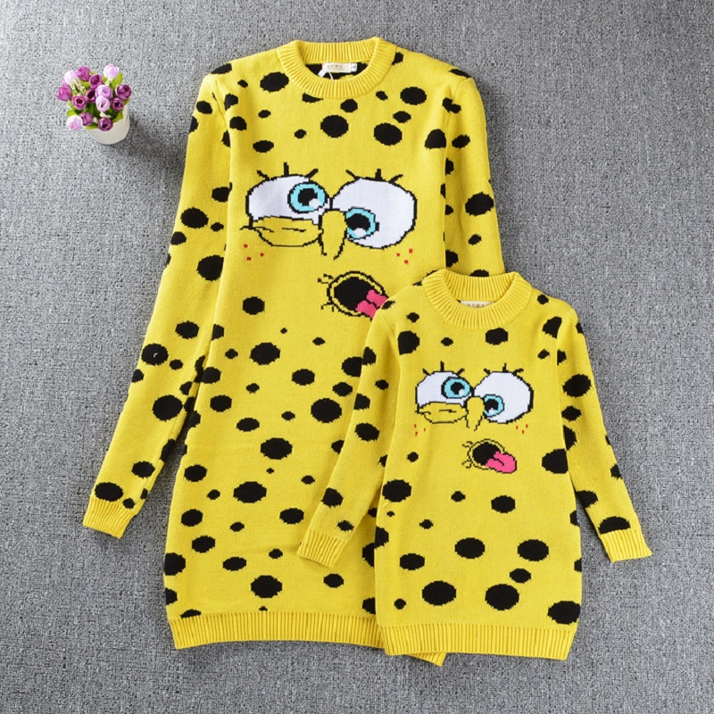 Mother and Daughter Clothes SpongeBob Sweaters Family Matching Outfits Sweaters for Mom and Kids Fashion Cardigan