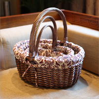Natural Willow basket wholesale wicker hamper Basket with handles gift Basket for storage