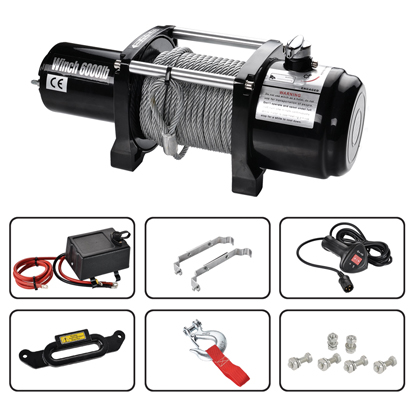 electric hoist car recovery 6000LBS 12v boat winch 12000lbs