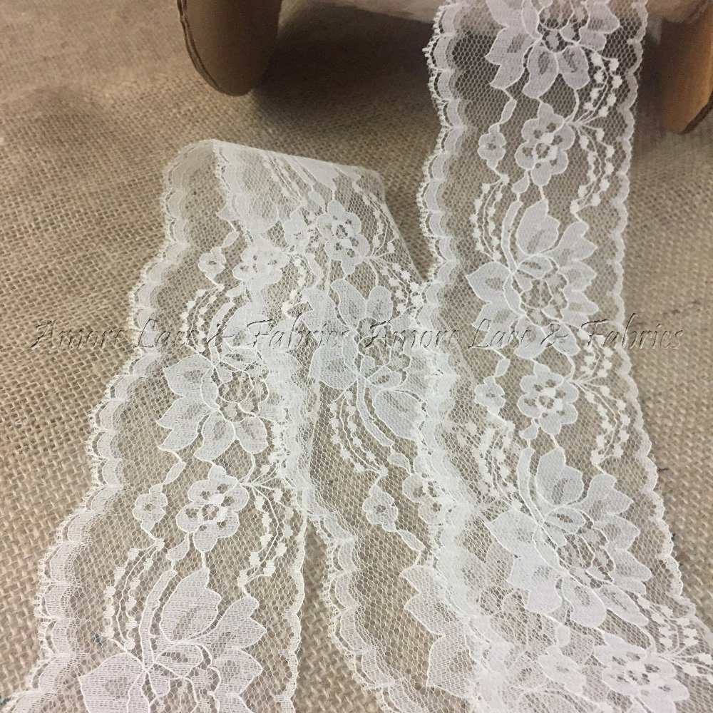 """Lily 1/"""",1.75/"""",2.25/"""" White Floral Ruffled Raschel Lace Trim Wholesale Lot Notions"""