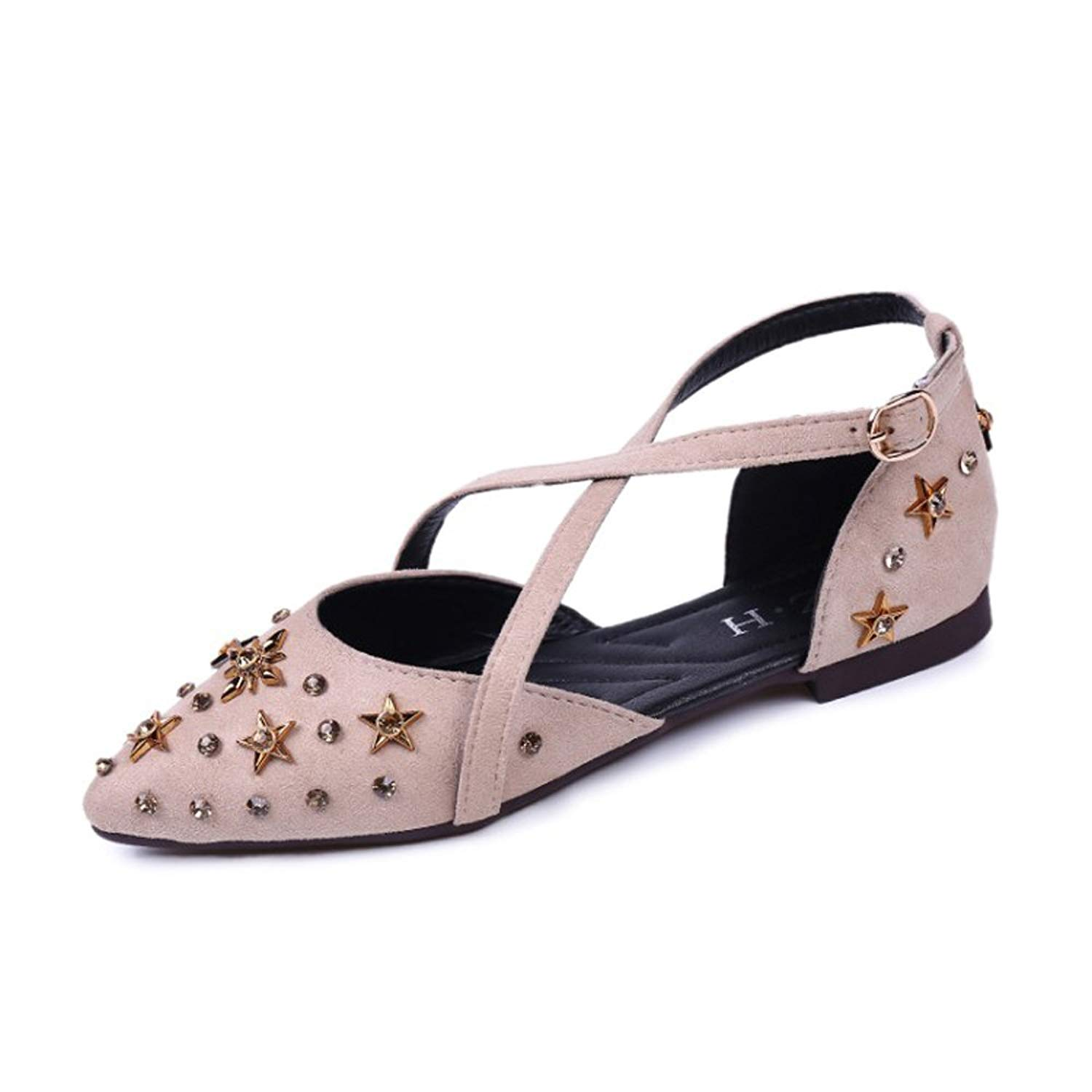 2e9b506af2b Get Quotations · Rivets Shoes Women Flats Ballet Cross Strap Pointed Toe  Stud Dress Sandals