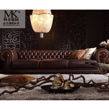 Elegant Luxury Full Leather Chesterfield Living Room Furniture Modern  Leather Sofa Set, View leather sofa set, MAKA SOFA Product Details from  Foshan ...