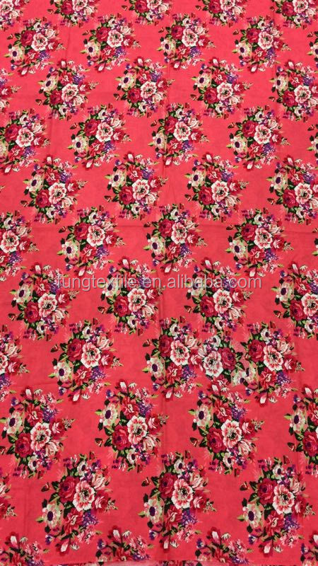 Fung rayon cotton printed fabric in Coral Color