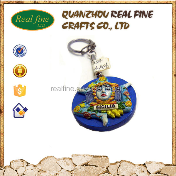 Wholesale custom design different country resin 3d keychain for Italy tourist souvenirs