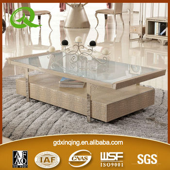 Latest Design C Tempered Glass Topmdf Covered With - Leather covered coffee table