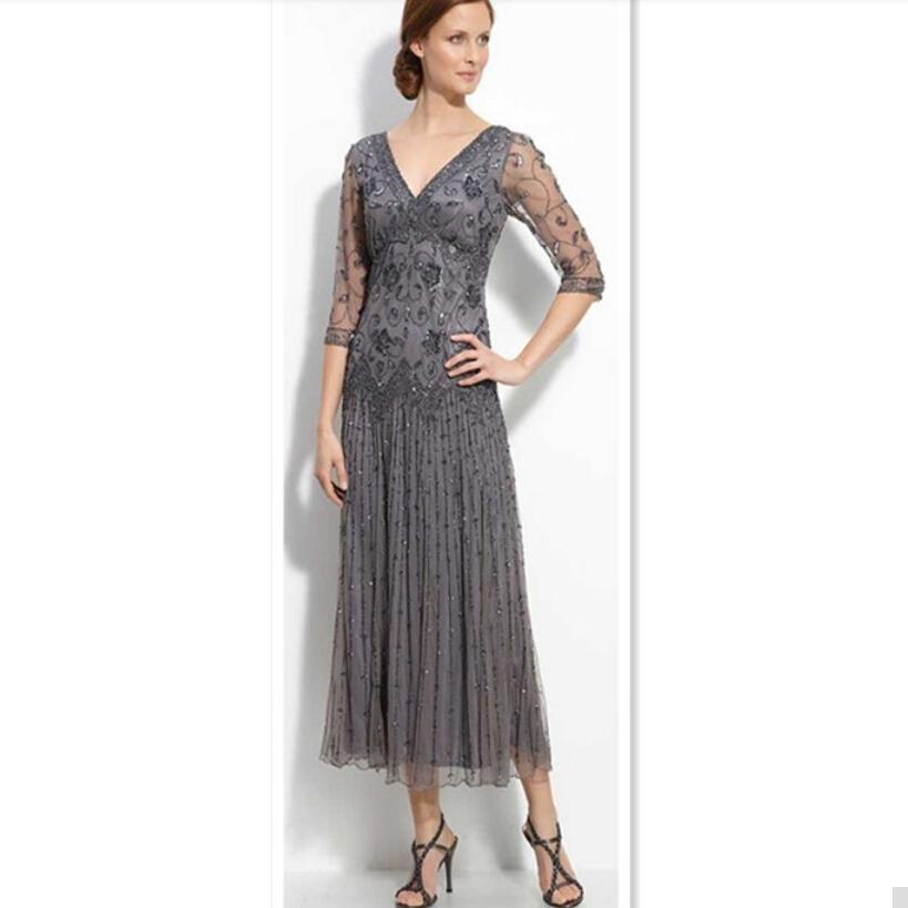 Tea Length Grey Dress