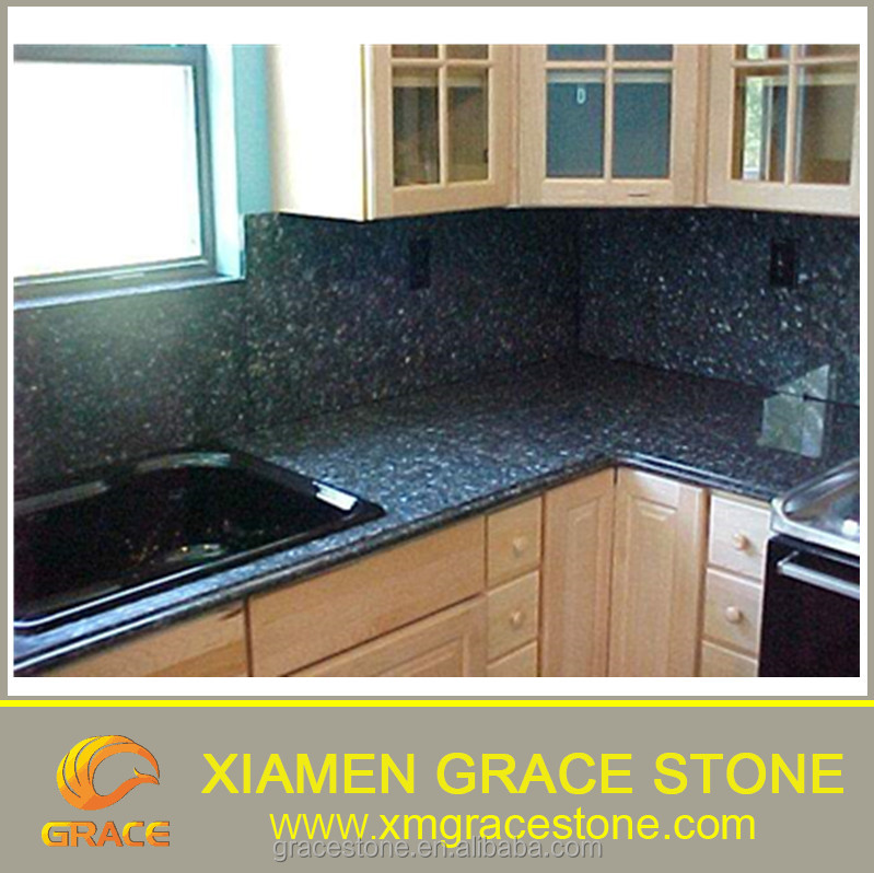 Top Polished Blue Pearl Granite Prefabricated Countertops Norway Kitchen Tops