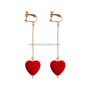 Simple Gold Plated Earring Designs For Women Bridal Small Red Heart Dangle Earrings
