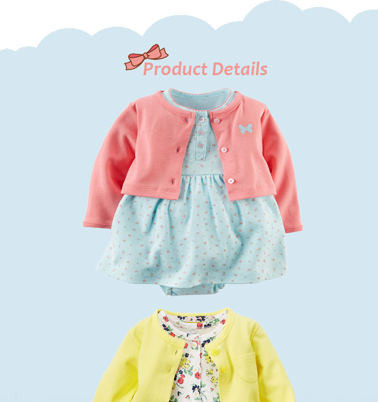 Autumn baby clothing wholesale china cotton baby bodysuit set with dress