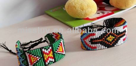 DIY Colorful seed bead wax cord braided bracelet jewelry Friendship bracelet jewelry DIY hand woven bead wax cord bangles
