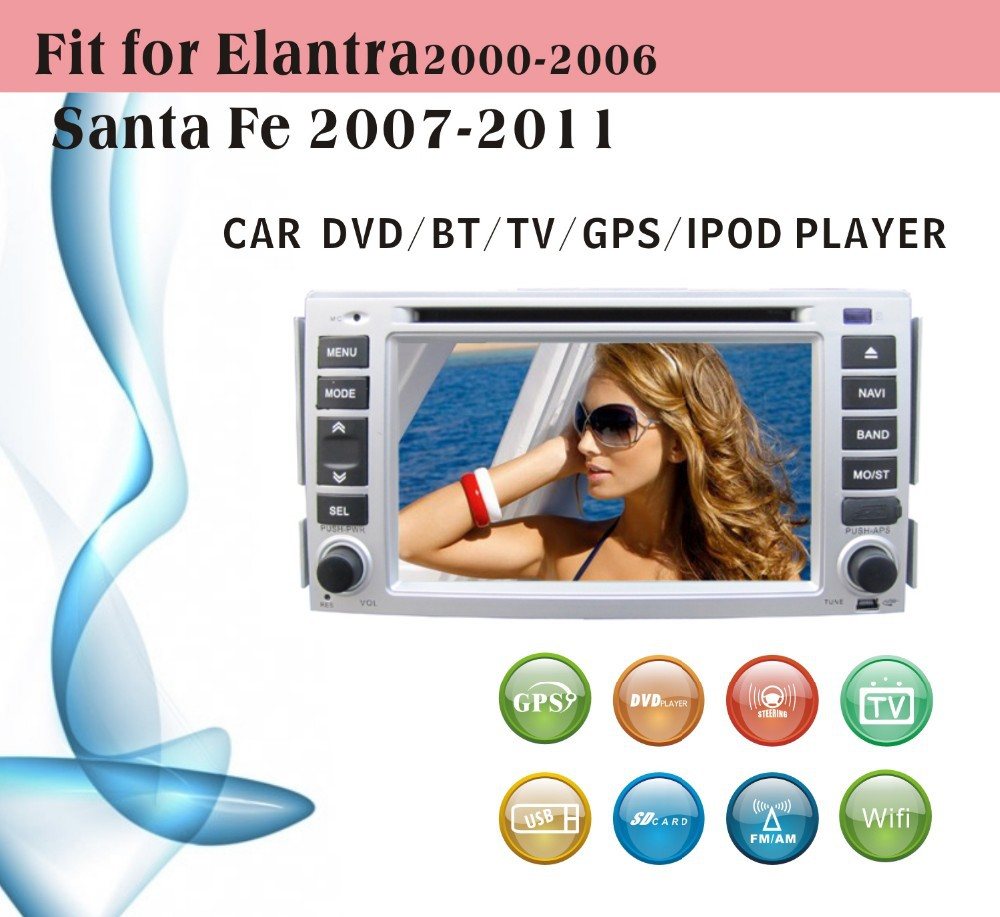 8 inch car dvd gps navigation fit for Hyundai Santa fe 2007 - 2011 with radio bluetooth gps tv pip dual zone