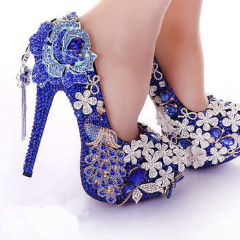 Bs029 Luxury Blue Crystal Womens Wedding Shoes Bride High Heels