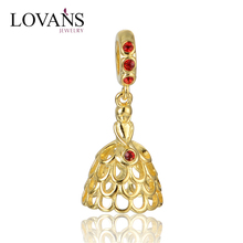 Gold Plated Princess Dress Floating Wholesale Charm Jewelry