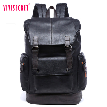 60068edf3fb4 Customized top quality back pack black large size fashion school bag  student vintage PU leather laptop