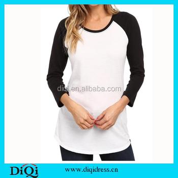 Ladies T Shirt 2015 Two-color Long Sleeve T-shirt Plain Round Neck ...