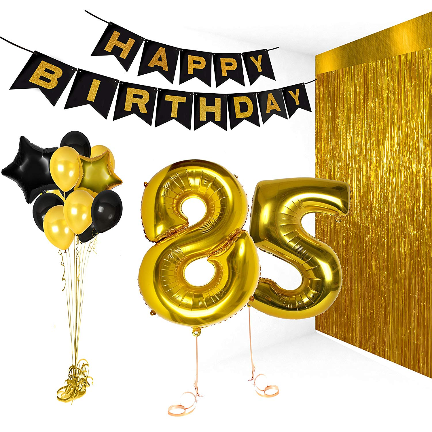 Get Quotations Treasures Gifted Happy 85th Birthday Party Decorations Supplies Kit Gold Metallic Letter Decor Balloon Banner For
