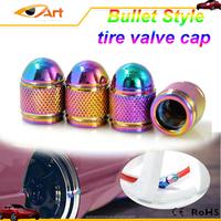 Aluminum Neo Rainbow Chrome Tire Bullet Valve Stem Caps